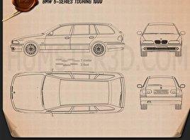 BMW 5 Series E39 Touring 1995 car clipart
