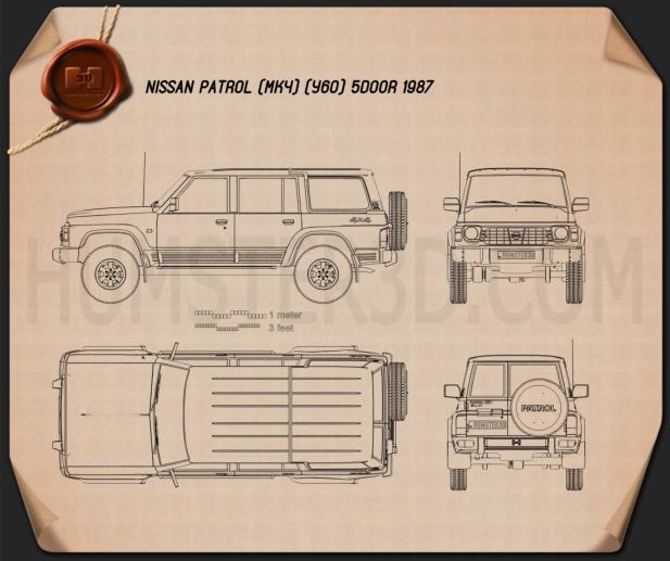 Nissan Patrol (Y60) 5-door 1987 car clipart