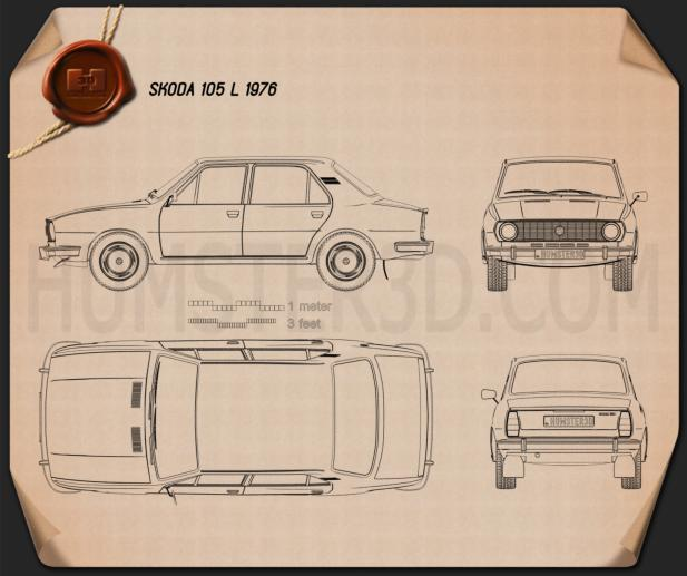 Skoda 105 L 1976 car clipart