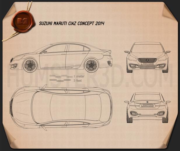 Suzuki (Maruti) Ciaz Concept 2014 Clipart Image