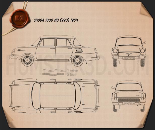 Skoda 1000 MB 1964 car clipart