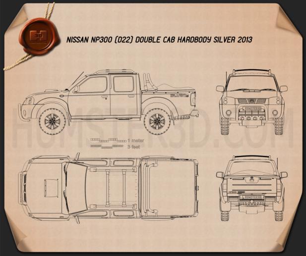 Nissan Navara (NP300) Double Cab Hardbody Silver 2013 car clipart