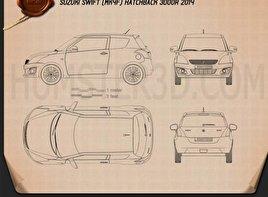 Suzuki Swift hatchback 3-door 2014 car clipart
