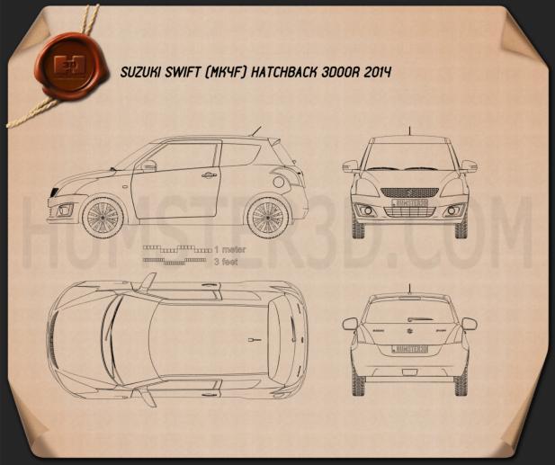 Suzuki Swift hatchback 3-door 2014 Clipart Image