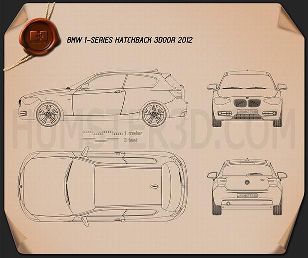 BMW 1 Series (F21) 3-door 2012 car clipart
