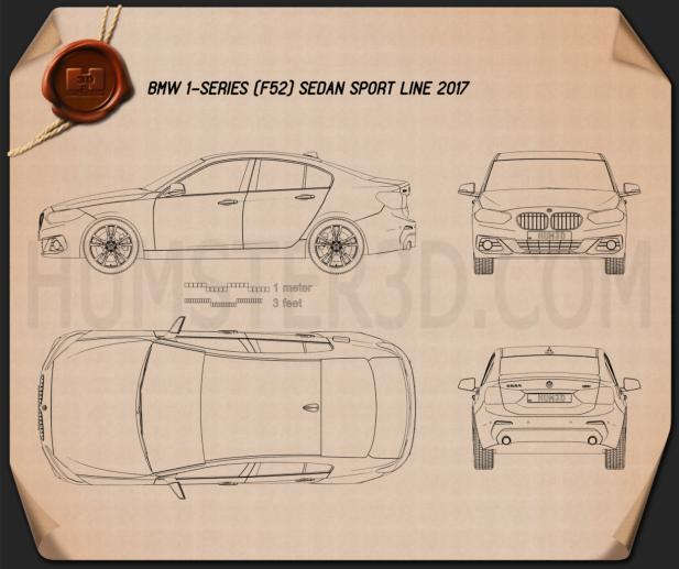 BMW 1 Series (F52) Sport Line sedan 2017 Clipart Image