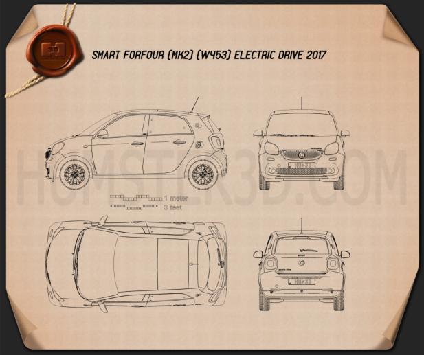 Smart ForFour Electric Drive 2017 car clipart
