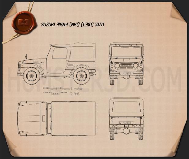 Suzuki Jimny 1970 Clipart Image