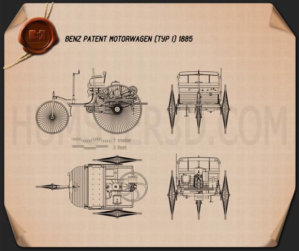 Benz Patent-Motorwagen 1885 car clipart
