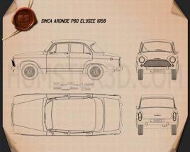 Simca Aronde P60 Elysee 1958 car clipart