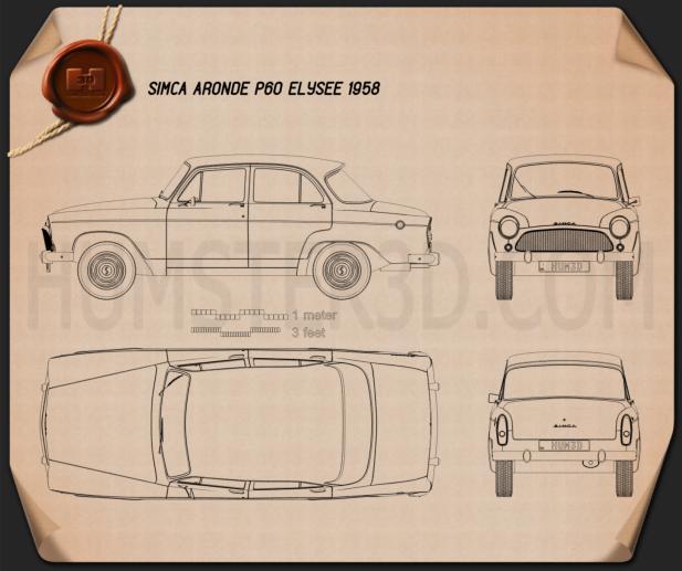 Simca Aronde P60 Elysee 1958 Clipart Image