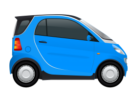 Blue Smart Car Side view