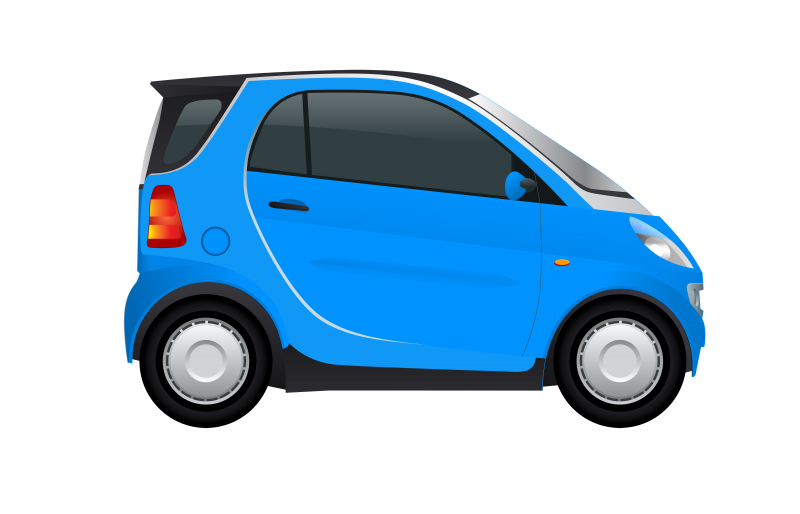 Blue Smart Car Side view Clipart Image