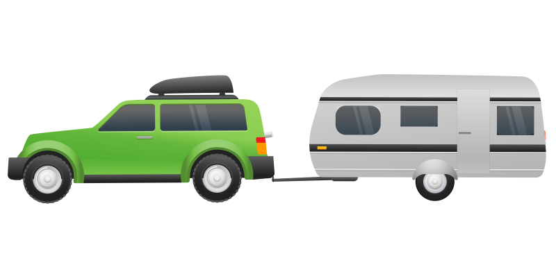 Off-road SUV with a Trailer Clipart Image