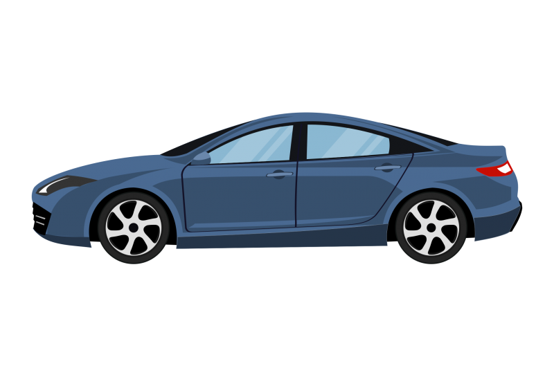 Sedan side view Clipart Image
