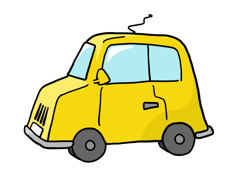 Cartoon Yellow Car transparent background Clipart Image