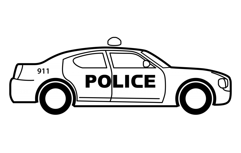 Black and white Police Car Clipart Image