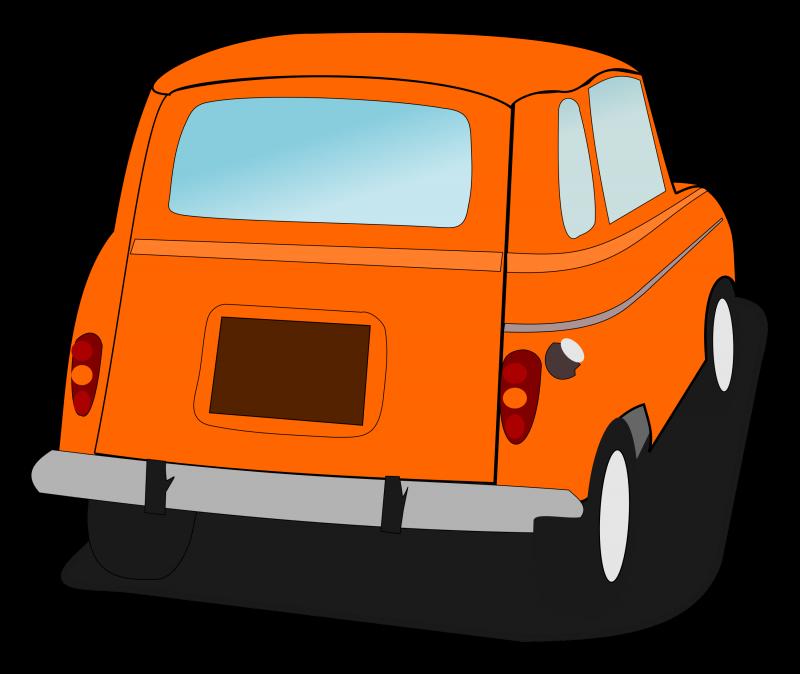 Retro Hatchback Back view Clipart Image