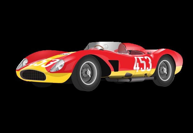 Ferrari Retro Race car Clipart Image