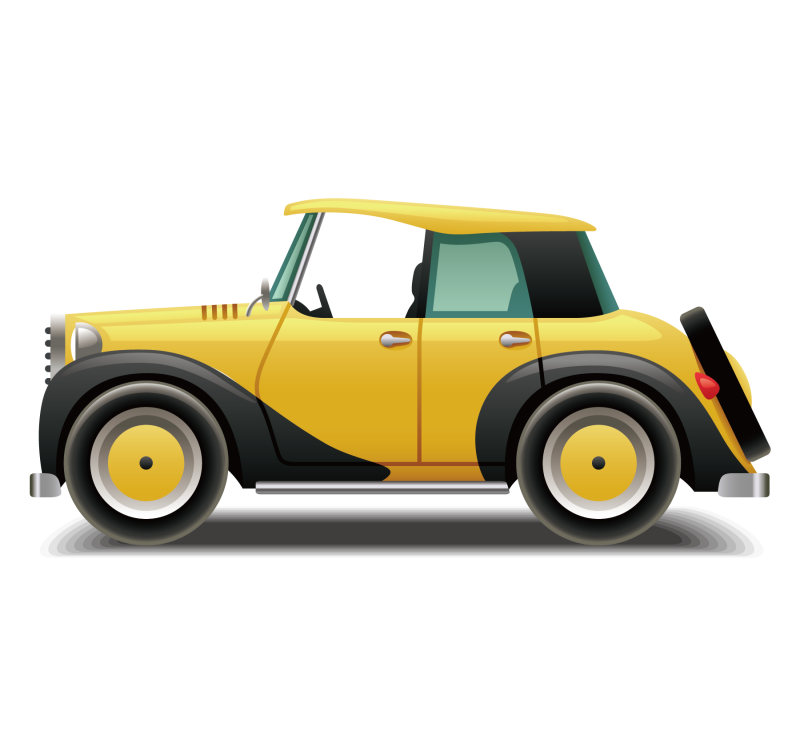 Yellow Small Classic car side view Clipart Image