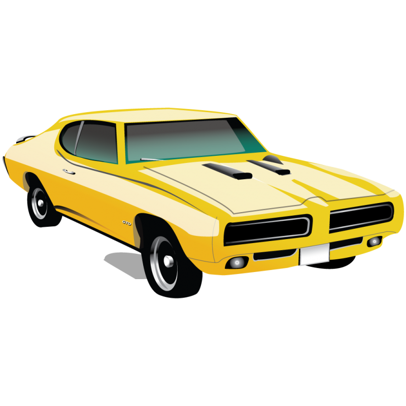Generic Yellow Muscle car Clipart Image