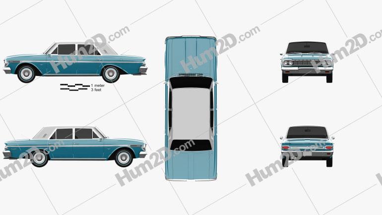 AMC Rambler Classic 770 4-door sedan 1964 car clipart