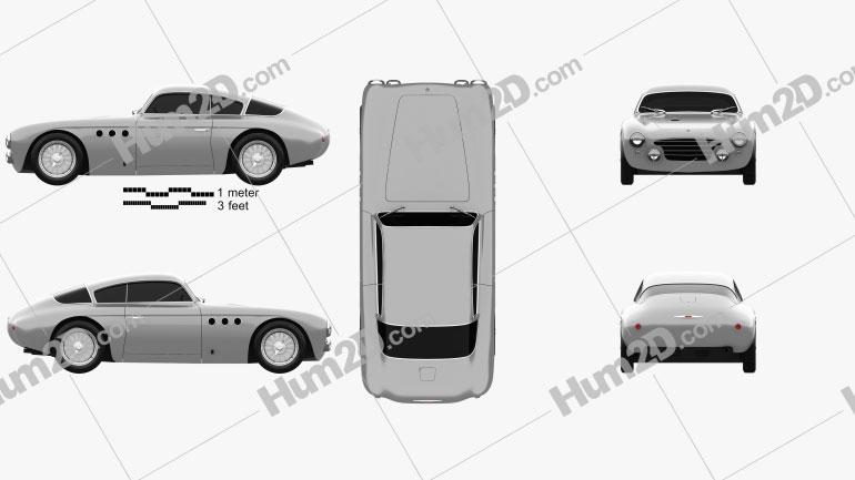 Abarth 205a Vignale berlinetta 1950 car clipart