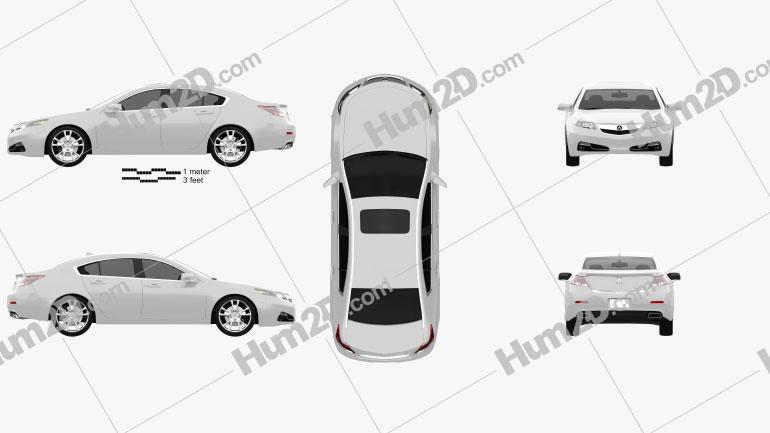 Acura TL 2012 Clipart Image