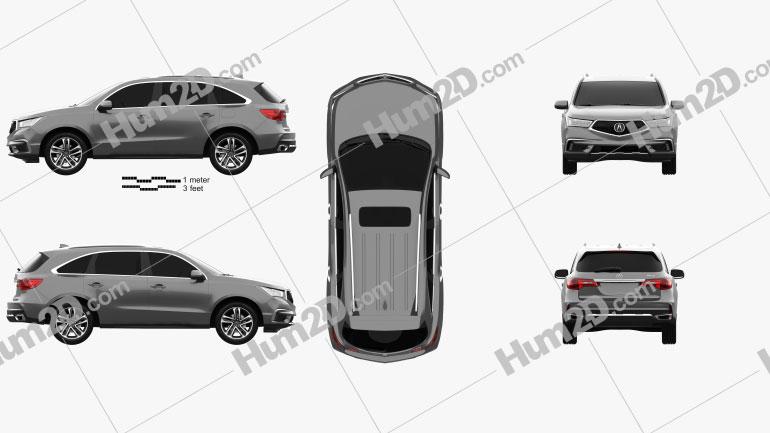 Acura MDX Sport Hybrid 2017 car clipart
