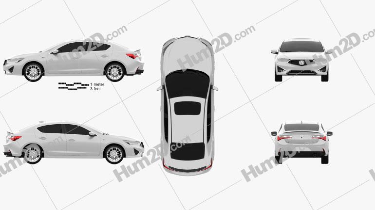 Acura ILX A-spec 2019 car clipart