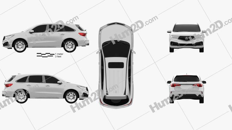 Acura MDX A-Spec 2018 car clipart