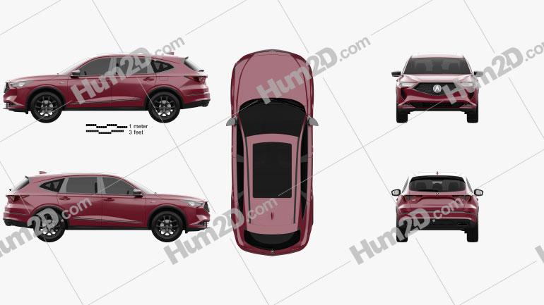 Acura MDX A-Spec US-spec 2021 car clipart