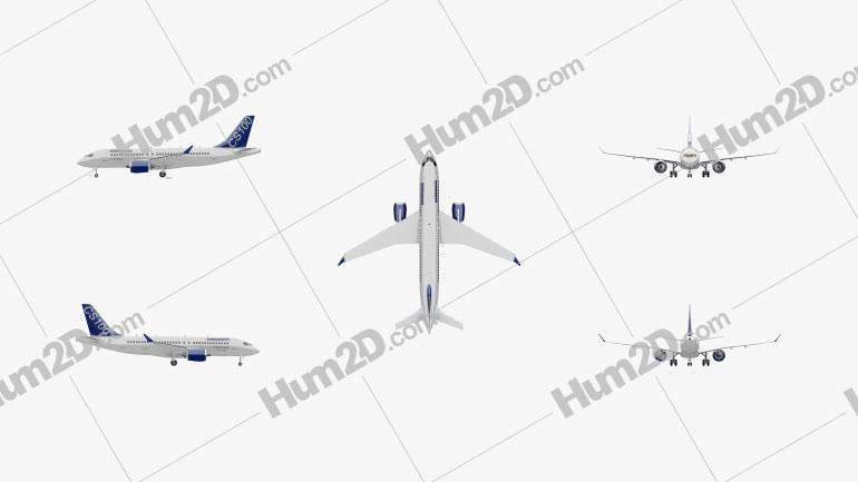 Bombardier CS100 Aircraft clipart