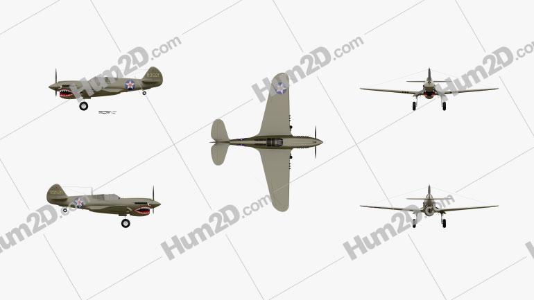 Curtiss P-40 Warhawk Aircraft clipart