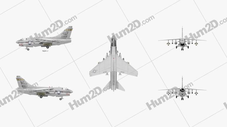 LTV A-7 Corsair II Aircraft clipart