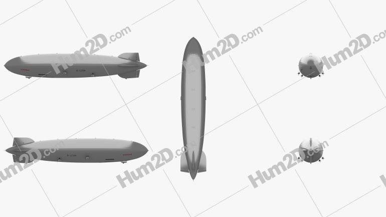 LZ 129 Hindenburg Zeppelin Clipart Image