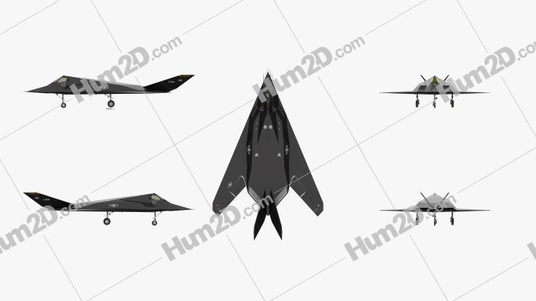 Lockheed F-117 Nighthawk Black Aircraft clipart