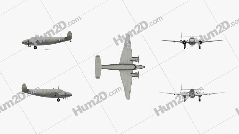 Lockheed Model 18 Lodestar Aircraft clipart