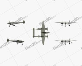 Lockheed P-38 Lightning Aircraft clipart