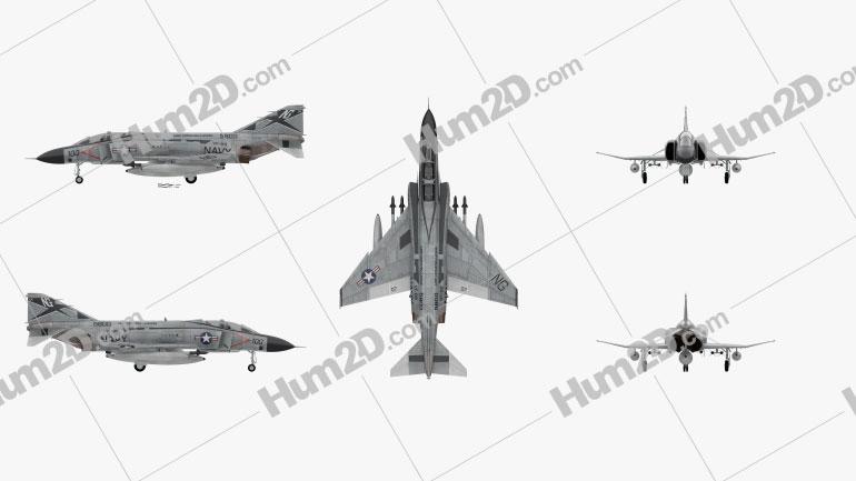 McDonnell Douglas F-4 Phantom II Clipart Image