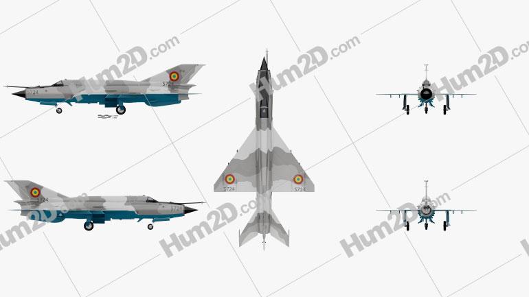 Mikoyan-Gurevich MiG-21 Flugzeug clipart