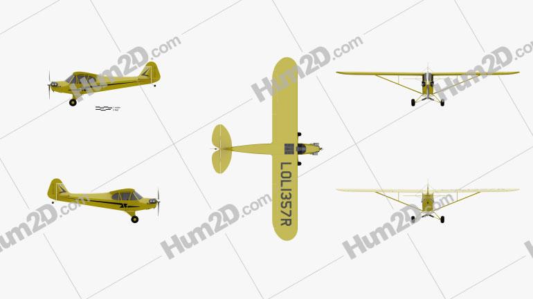 Piper J-3 Cub Aircraft clipart