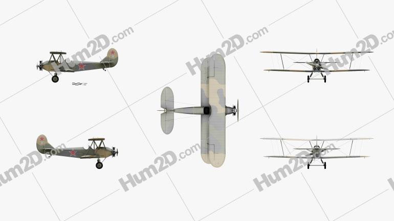 Polikarpov Po-2 Aircraft clipart