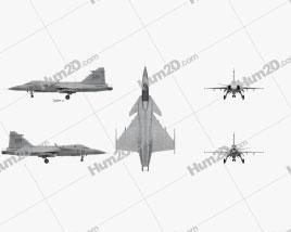 Saab JAS 39 Gripen Military Airplane Aircraft clipart