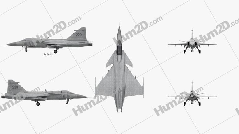 Saab JAS 39 Gripen Military Airplane Flugzeug clipart