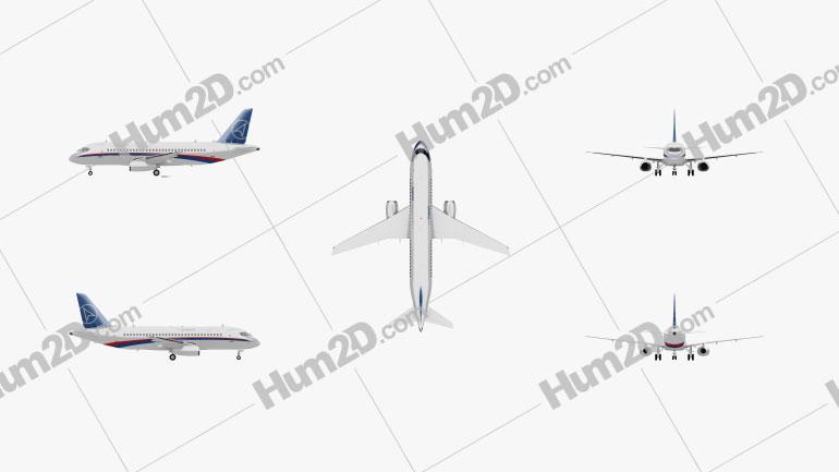 Sukhoi Superjet 100 Aircraft clipart