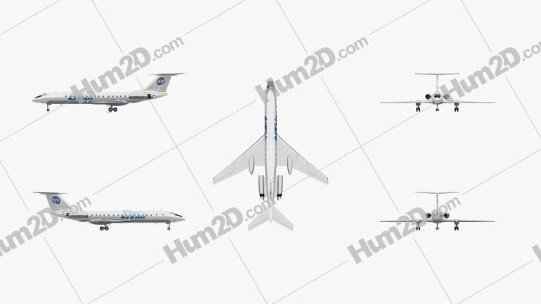 Tupolev Tu-134 Aircraft clipart