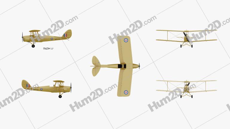 de Havilland DH.82 Tiger Moth Aircraft clipart