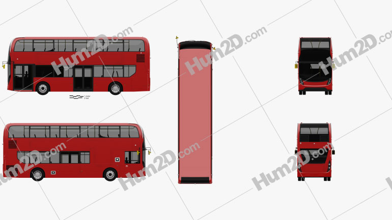 Alexander Dennis Enviro400 Double Decker Bus 2015 clipart
