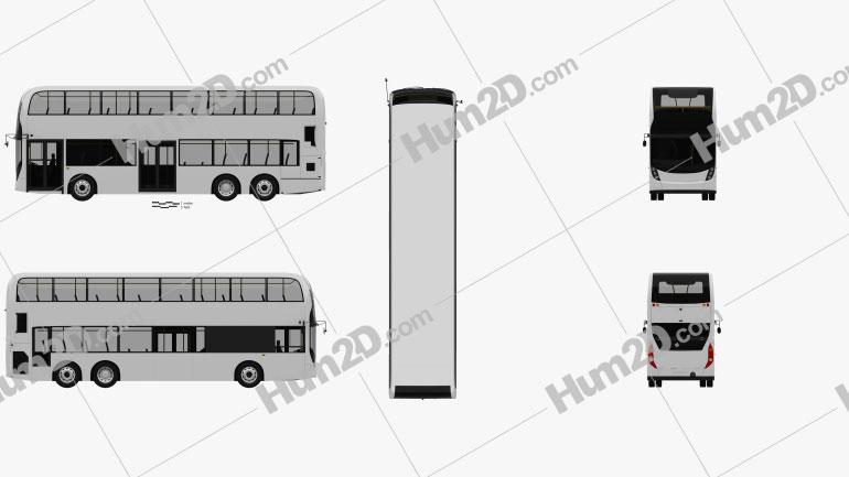 Alexander Dennis Enviro500 Double Decker Bus 2016 clipart